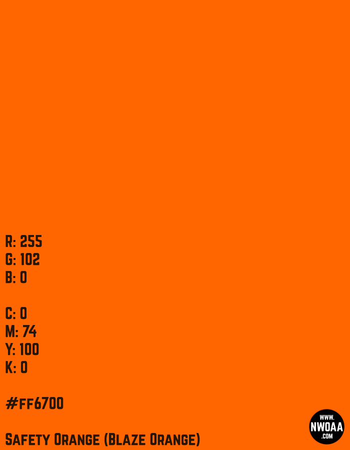 Color Of The Day #65 - Safety Orange (Blaze Orange) #ff6700